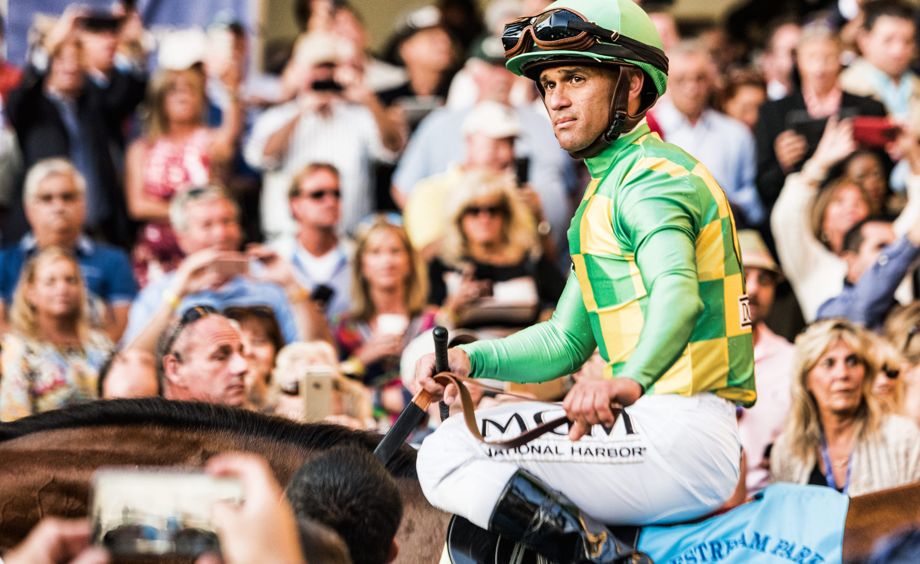 Candid shot of jockey, Javier Castellano by Scott Redinger-Libolt / redphoto